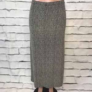 Vintage 90s Black White Jersey Maxi Skirt
